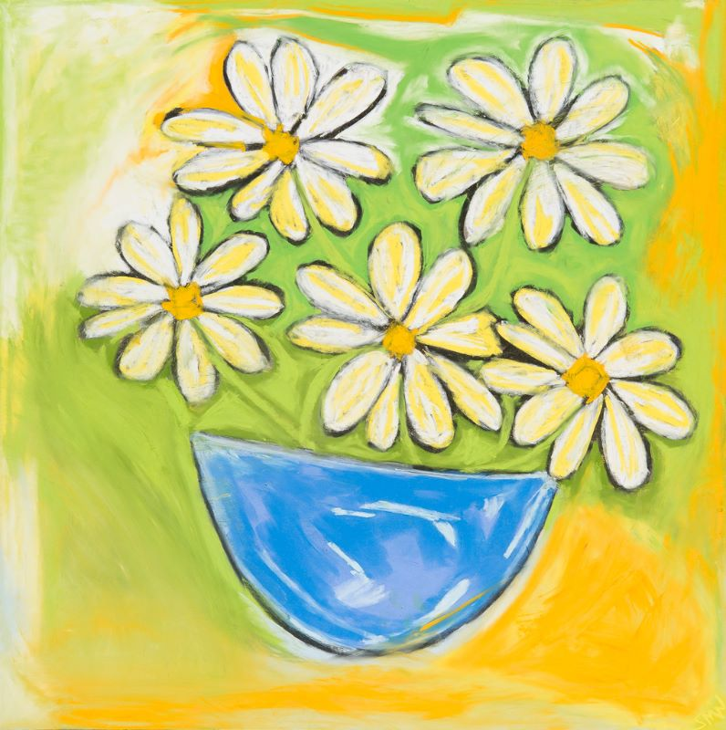 White Flowers Blue Bowl