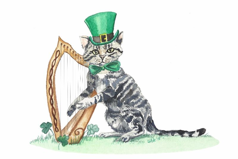 Irish cat playing a Harp