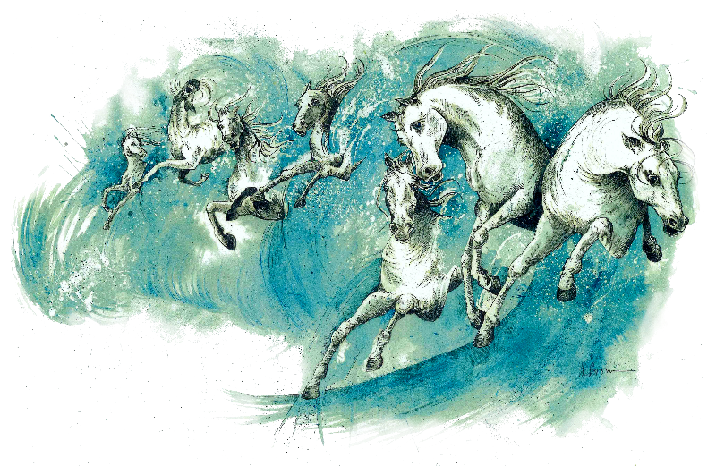 Horses In The Waves
