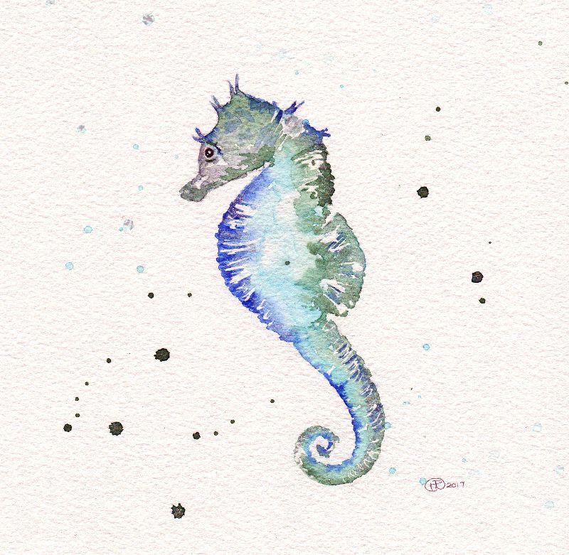 Seahorse Watercolour