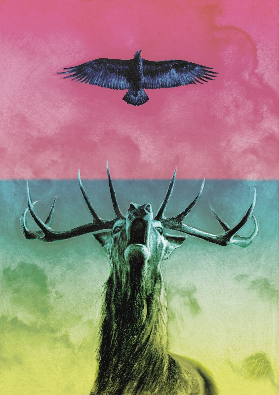 Stag and Eagle in colour