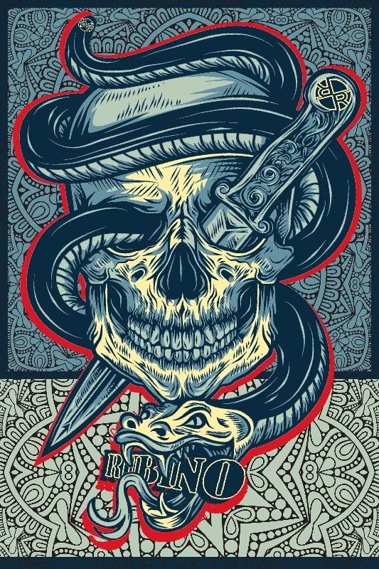 Rubino Skull Snake Tattoo