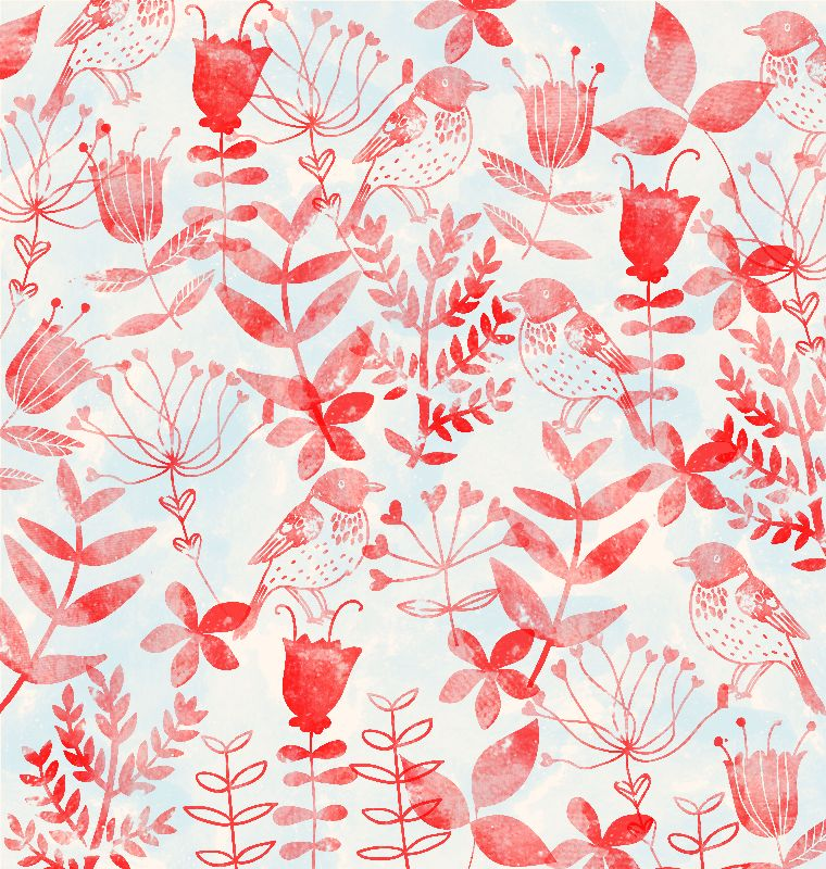 Floral and Birds Pattern