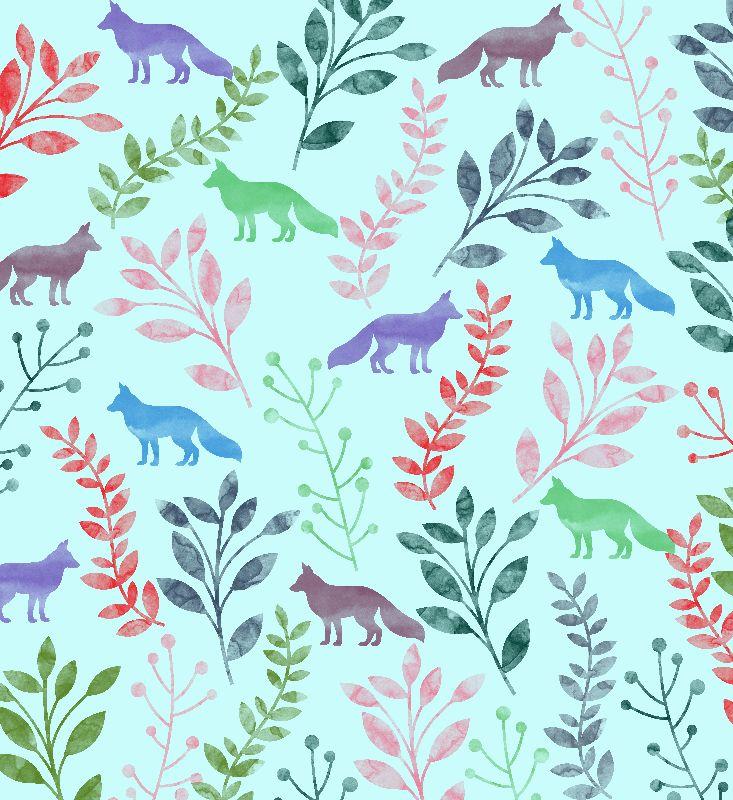 Watercolor Floral  Fox
