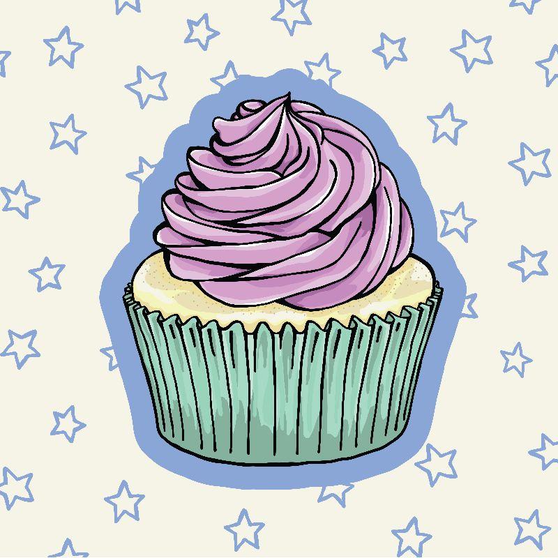 Pastel Cupcake with Stars