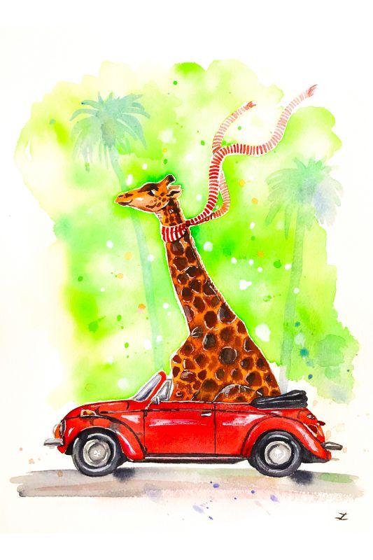 Giraffe in a Beetle