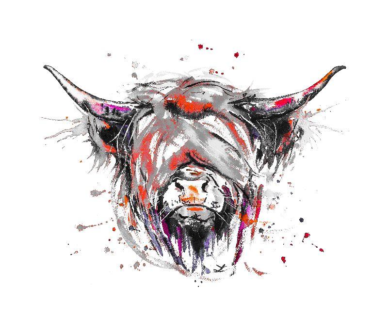 Highland Cow color splash
