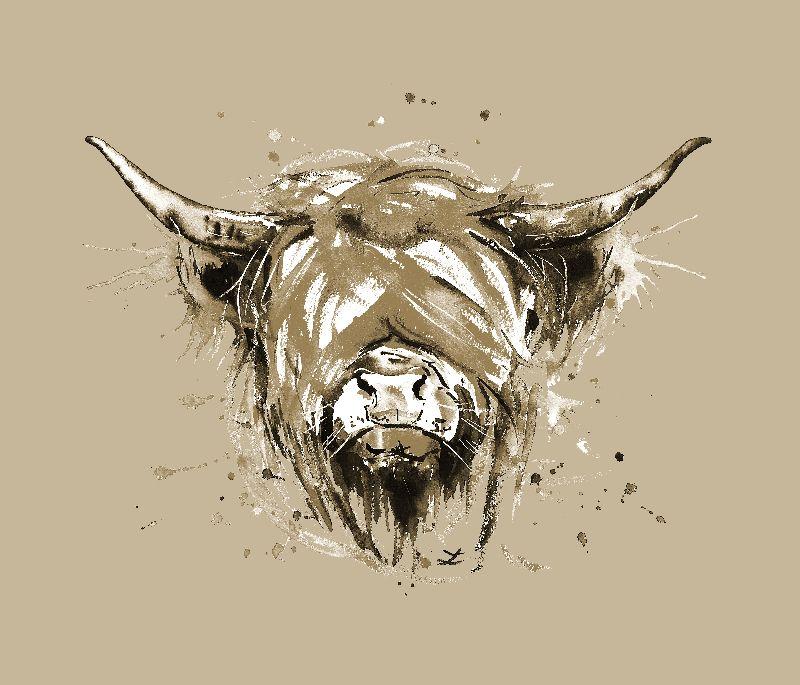 Highland Cow in beige