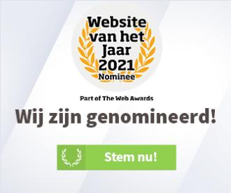 """Website banner """"Stemmen website van het jaar 2021"""""""