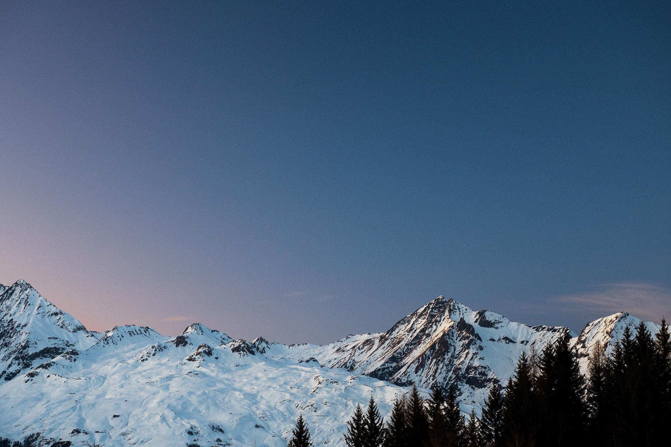 Les Arc Frankrijk uitzicht bergen met sneeuw