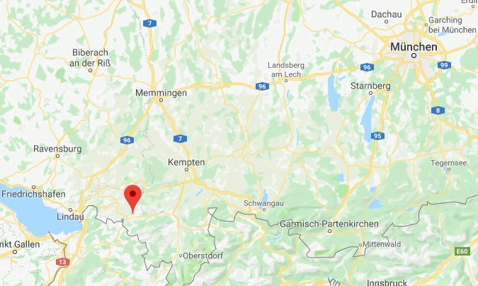 Oberstaufen Duitsland op kaart Google Maps