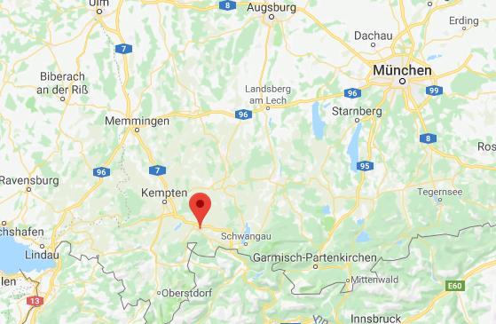 Ostallgau op de kaart Google Maps