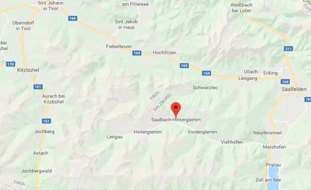 Saalbach op kaart Google Maps