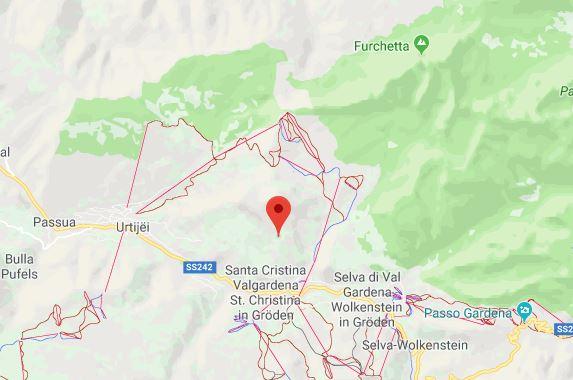 Val Gardena Italie op kaart Google Maps