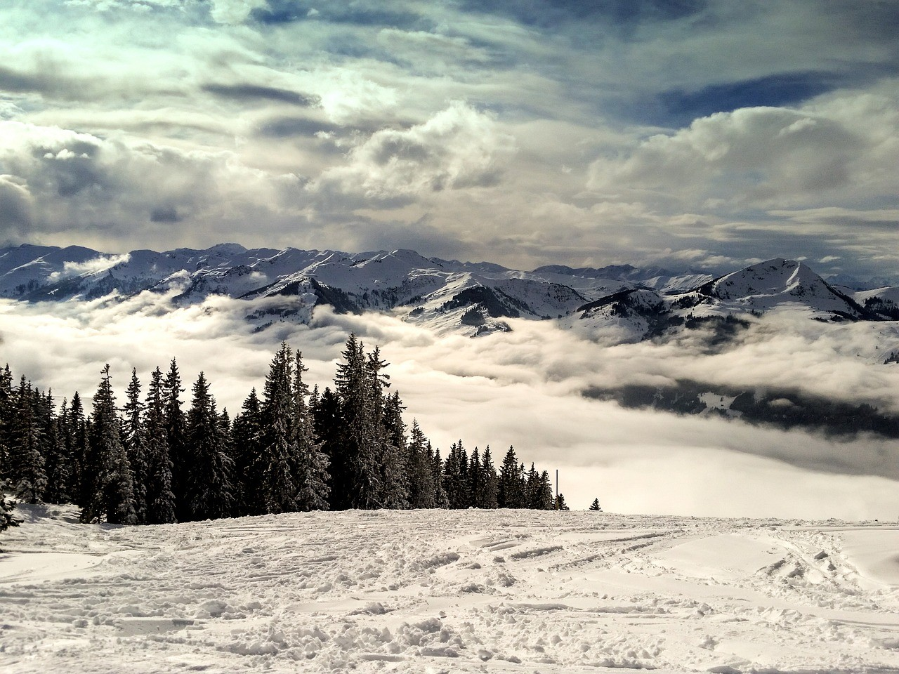 Kitzbuhel Kirchberg Oostenrijk Sneeuw