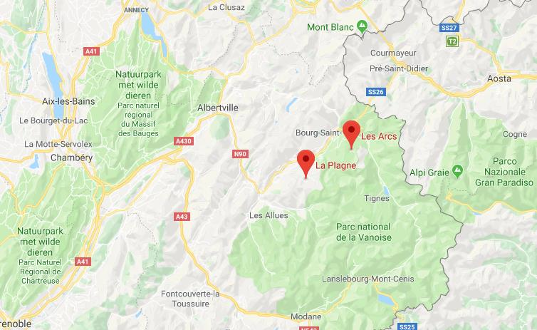 Paradiski Frankrijk op de kaart Google Maps