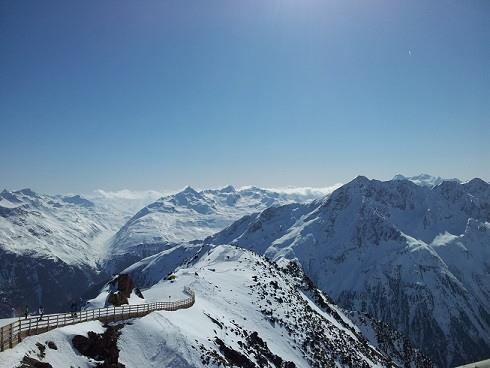 Uitzicht bergtoppen Solden Oostenrijk