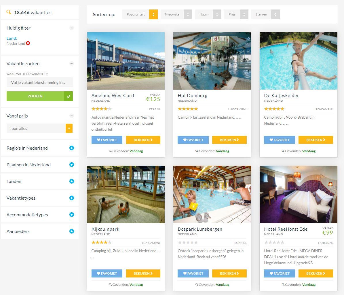Vakantie vergelijker zoekallevakanties.nl