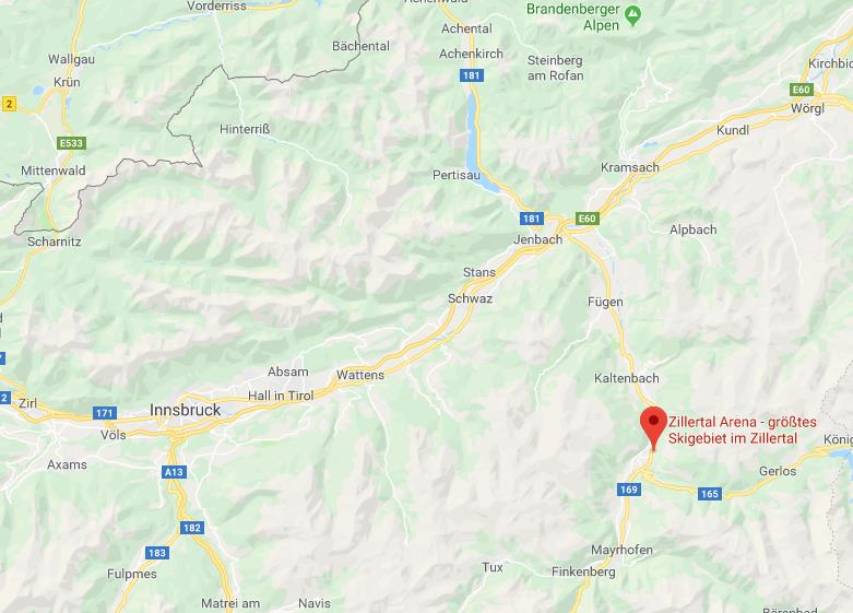 Zillertal Arena locatie Google Maps