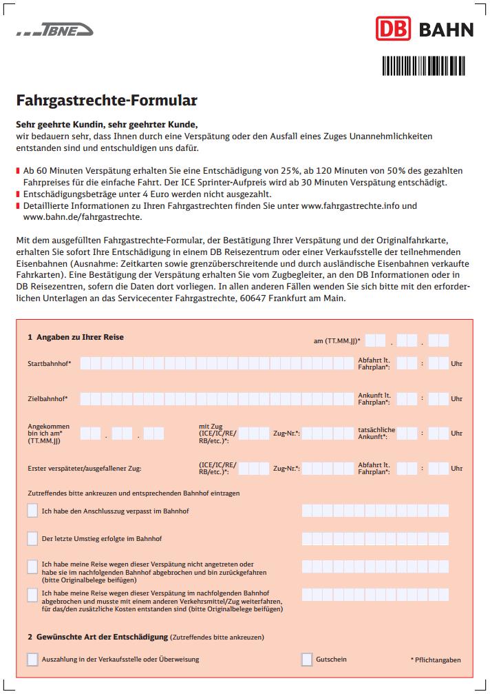 Fahrgastrechte formular seite 1